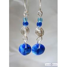 Fused glass Blue Earrings