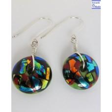 Dichroic Glass Doughnut Earrings