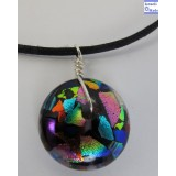 Dichroic Glass Doughnut Necklace