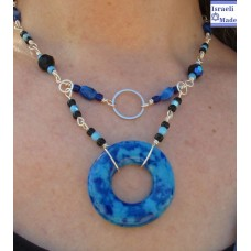 Blue Donut Fused Glass Necklace