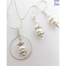 Pearl & Swarovski bridal Earrings & Pendant